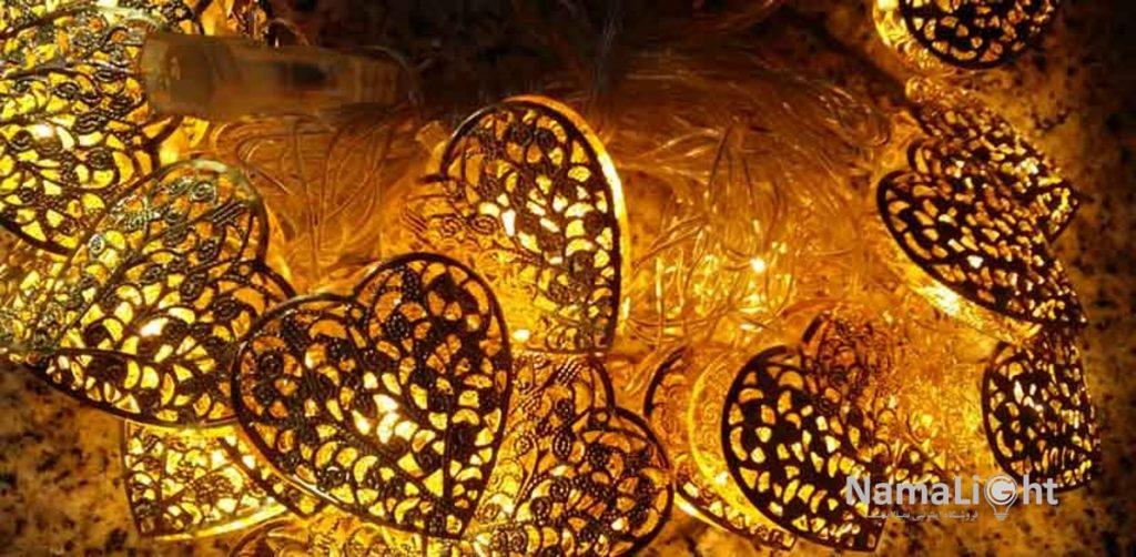 ریسه قلب فلزی طلایی